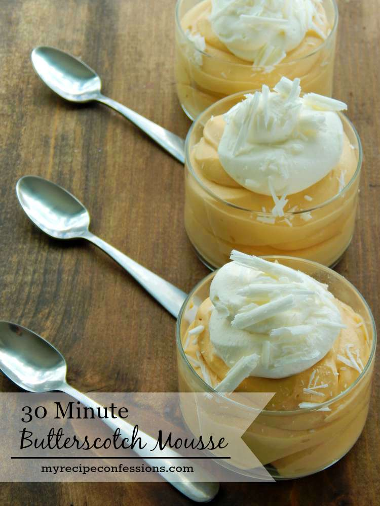 This 30 Minute Butterscotch Mousse blows all of the other mousse recipes out of the water! I mean come on who doesn't love easy desserts? I promise when you make this heavenly dessert nobody will believe it took you only 30 minutes to whip it up!