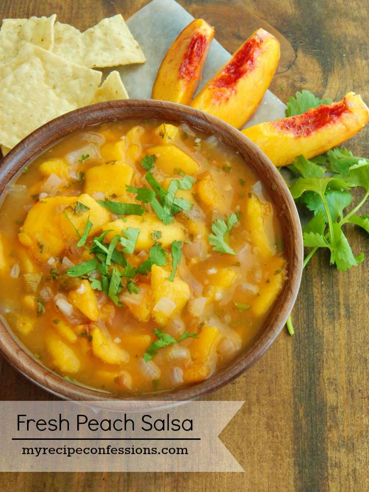 I love this Fresh Peach Salsa recipe! The flavor is out of this world! It doesn't have any tomatoes so the peaches really shine. Next time you need a gluten free snack or some appetizers you have got to try this recipe! I promise you will not be disappointed!