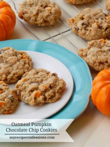 If you are like me and can never have enough pumpkin recipes, than you are going to love these cookies! These Oatmeal Pumpkin Chocolate Chip Cookies are soft, chewy and absolutely divine! They are super easy to make too.