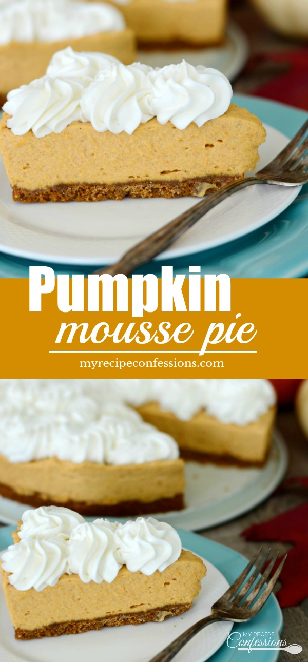 Pumpkin Mousse Pie is an easy dessert that is always a huge hit! The light and fluffy pumpkin mousse and homemade whipped cream is perfect with the gingersnap crust. Rock your holiday parties with this Pumpkin Mousse Pie on the menu!