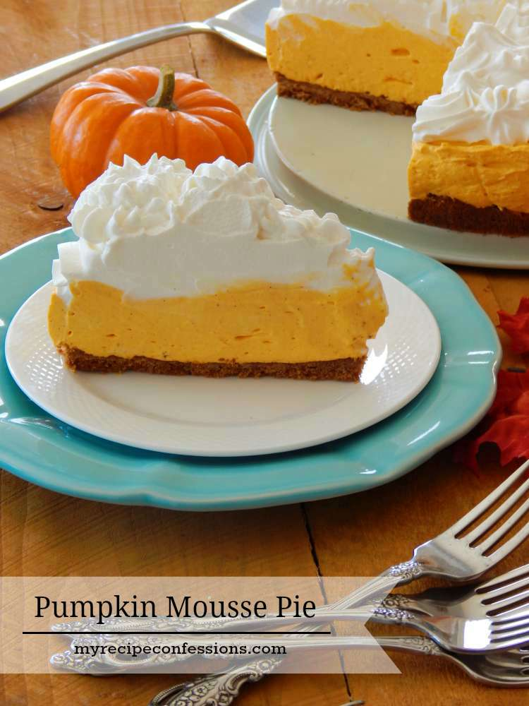 Pumpkin Mousse Pie- This is an easy foolproof recipe. It's light and creamy with a mild pumpkin flavor. The gingersnap crust really adds to the creamy pumpkin flavor. Add the whipped cream on top and you have the perfect dessert for any occasion! This pie is a great alternative to the traditional pumpkin pie.