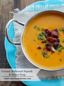 Creamy Roasted Butternut Squash and Bacon Soup. Do you need easy dinner recipes? This soup is just that! It is super easy to make and is the perfect fall meal. I have a feeling that this is going to be at the top your list of dinner recipes.