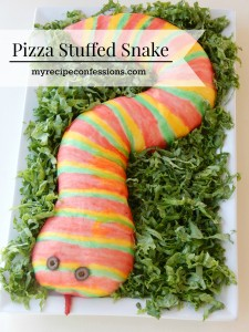 Pizza Stuffed Snake. I am a sucker for Halloween recipes, but out of all my recipes this on is by far my kids favorite! They love to help paint the snake and then eat it with a side of marinara sauce. This pizza snake is great for Halloween parties, boys birthdays, or even a Harry Potter party.