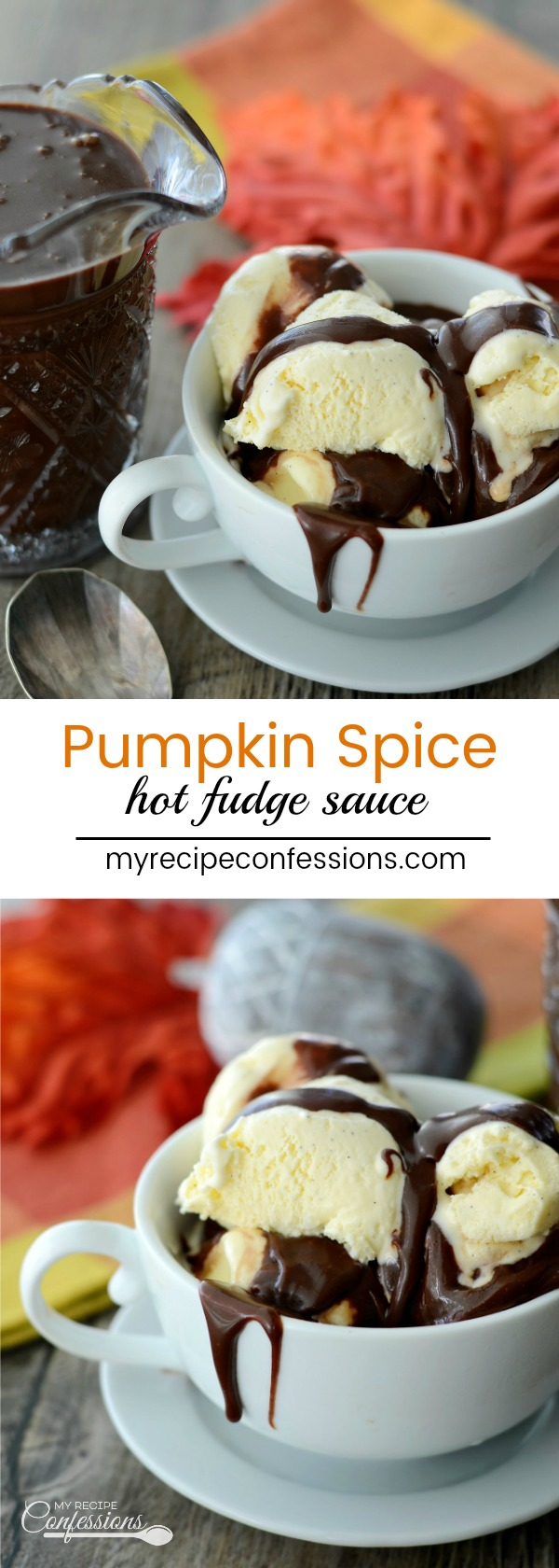 Pumpkin Spice Hot Fudge sauce is an easy recipe that takes less than 10 minutes to make. The pumpkin spice is the perfect complement to this rich homemade hot fudge sauce. Pour this Pumpkin Spice Hot Fudge over your ice cream for a mind-blowing dessert!