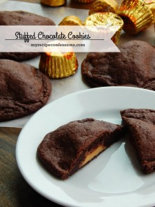 Stuffed Chocolate Cookies. These cookies are so soft and chewy and you get to add your favorite candy bar into the center. They are one of those easy desserts that everybody loves! It's a great way to use up all the left over Halloween candy! Trust me, if you love cookie recipes, you are going to love this one!