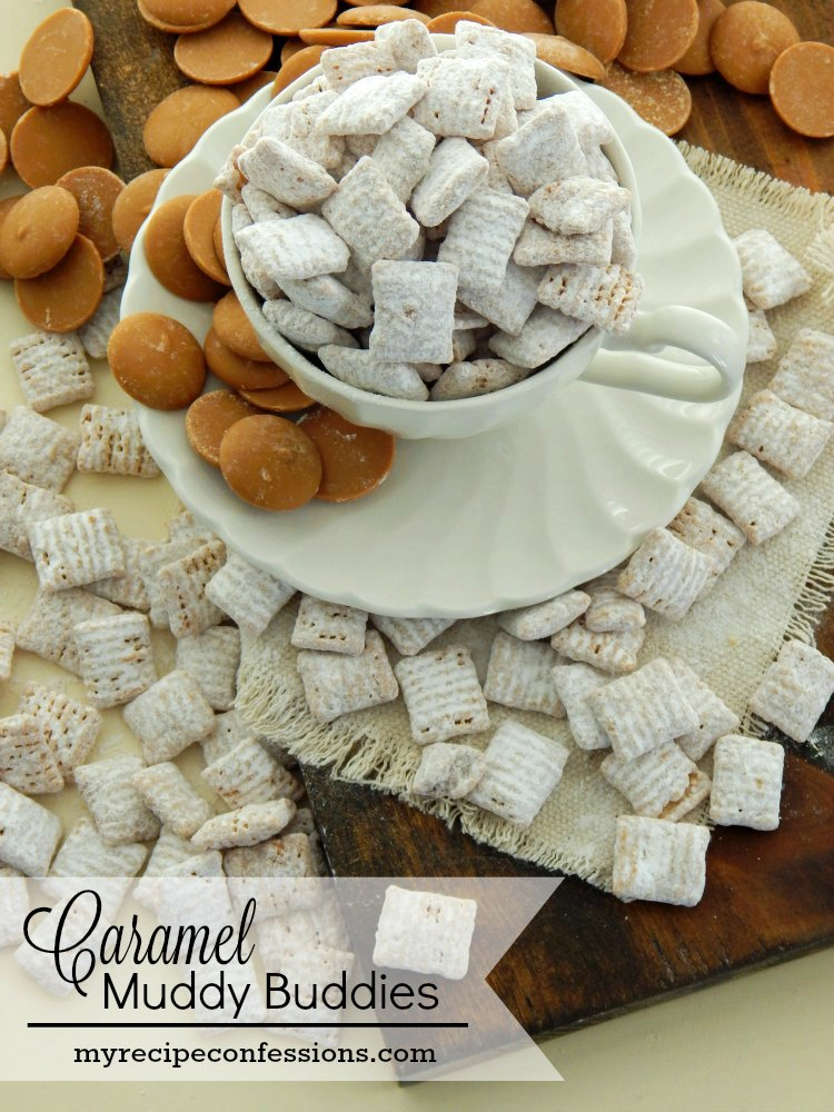 Caramel Muddy Buddies are mind blowing delicious! This recipe only calls for 3 ingredients and it takes less than 10 minutes to make it. Trust me, these caramel muddy buddies rock!