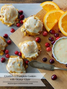 Pumpkin Cranberry Cookies with Orange Glaze. These Cookies are like a Christmas party in your mouth! They are all the best holiday flavors combined into one amazing cookie! This might seem like a weird combination, but trust me they are mind blowing! I have tried many pumpkin recipes, and this one is my absolute favorite! I plan on making these cookies every year from now on!