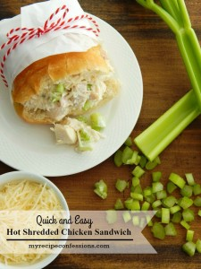 Quick and Easy Hot Shredded Chicken Sandwich. I always love good chicken recipes. Not only is this recipe delicious it is an easy dinner to make. The quick and easy recipes are always the best dinner recipes! This one will not disappoint! You can even use smaller rolls and serve them as appetizers.