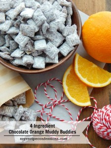 4 Ingredient Chocolate Orange Muddy Buddies. This recipe will only keep you in the kitchen for 5 to 10 minutes tops. Christmas is not the same without some chocolate orange treats. These babies are so hard to stay away from. They are delicious! If you are looking for Christmas gift ideas, this is it!