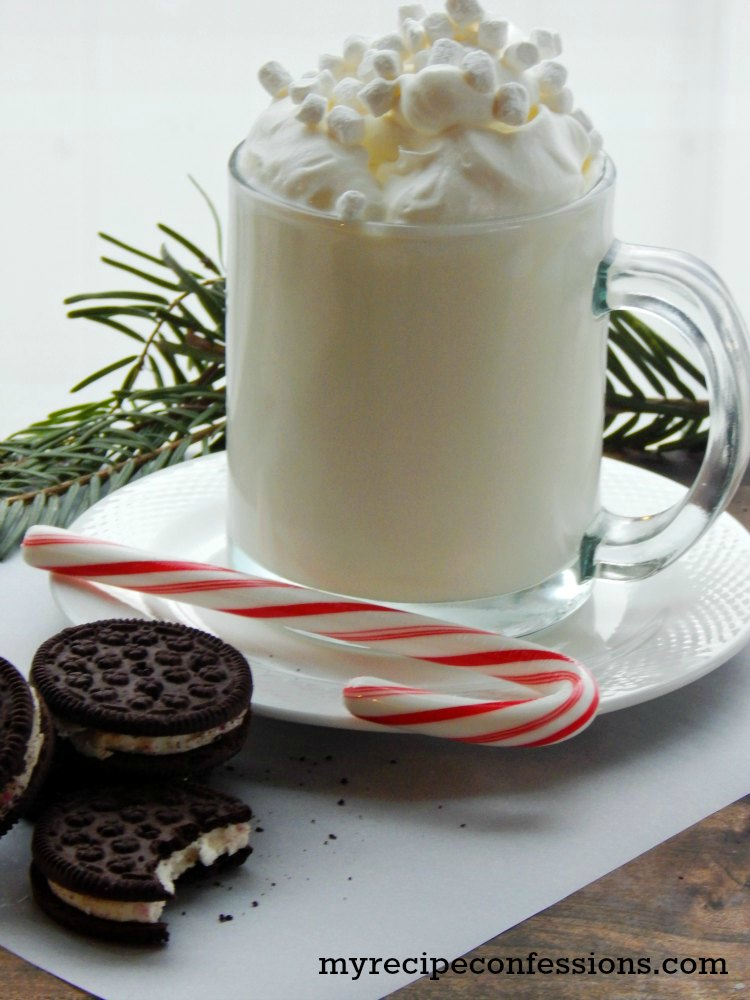 Creamy White Hot Chocolate. Christmas isn't the same without hot chocolate. I have tried many hot chocolate recipes, and this Creamy White Hot Chocolate beats them all! It is super easy to make! I love to dunk candy cane Oreo cookies into it. Seriously, you will want to drink this hot chocolate for breakfast, lunch, and dinner!