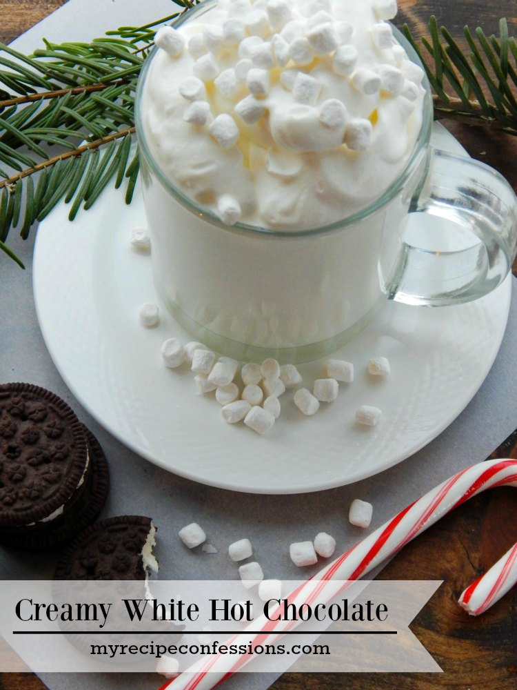 Creamy White Hot Chocolate is perfect for when it's cold outside. Nothing beats an easy homemade hot chocolate and this recipe is just that. It is smooth and creamy and the perfect way to warm up after being out in the cold!