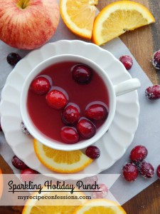 Sparkling Holiday Punch. Take your Christmas dinner to a whole new level with this refreshing drink. There are a ton of other holiday beverage recipes out there, but this one knocks it out of the park! You can even omit the soda and serve it for breakfast Christmas morning. I am telling you this recipe can't be beat!