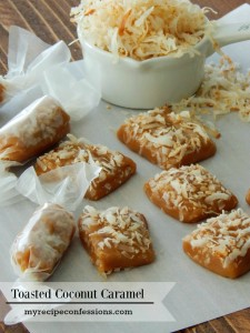 Toasted Coconut Caramel. These caramels are so soft and rich in flavor. Toasted coconut and caramel are a match made in heaven! I love homemade caramel for Christmas! I tried a million different caramel recipe before I came up with this one. They make great teacher gifts or diy gifts for the neighbors.