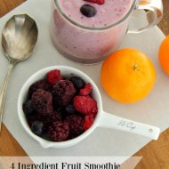 4 Ingredient Fruit Smoothie. I got sick of my kids eating sugar coated food for breakfast. I started making this smoothie and they love it! I looked for other smoothie recipes, but this one is our favorite. You can add any kind of fruit or vegetables that you like. You can even use almond milk instead of skim milk. This is a great vegetarian recipe.