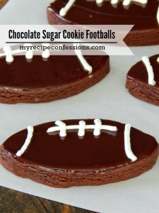 Chocolate Sugar Cookie Footballs. You need these cookies in your life! They are a cross between a sugar cookie and a brownie. I could eat them for breakfast, lunch, and dinner. You always need some delicious desserts at game day. Easy desserts shaped like footballs are even better. These cookies will be a huge hit on game day, I promise!