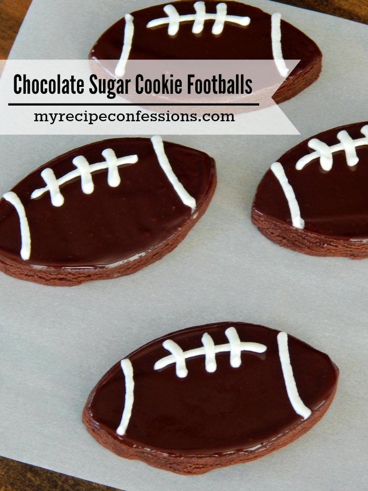 Chocolate Sugar Cookie Footballs are a cross between a sugar cookie and a brownie. They are easy to make and perfect for game day!