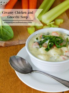 Creamy Chicken and Gnocchi Soup. Do you love chicken recipes? This soup is out of this world amazing! It is the ultimate comfort food! Do you need more recipes for your meal planning? Are you looking for dinner recipes? This soup is smooth and creamy. It is like the Italian version of chicken noodle soup.
