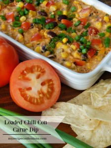 Loaded Chili Con Carne Dip. You won't have to spend much time in the kitchen making this dip. You can throw it together in no time. As far as appetizers go this is one of the best recipes out there! Everybody loves it and there is rarely any leftovers. It is perfect for game day. This dip is best served hot with tortilla chips.