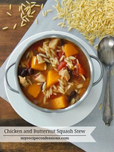 Chicken and Butternut Squash Stew. This stew is will warm you from head to toe! It is so delicious I was planning on making it again before I finished my first bowl. It one of those easy dinner recipes that everybody raves over! If you are looking for chicken recipes or just want a yummy soup to warm you up this is your recipe!