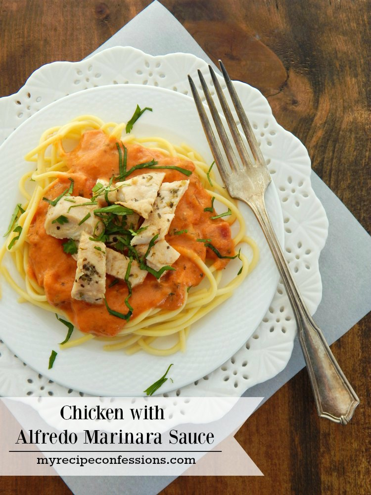 Chicken with Alfredo Marinara Sauce. This dish is the ultimate easy dinner. I have tried many dinner recipes and this one beats them all. Not only is it quick and easy, it tastes like you were cooking in the kitchen all day. Who needs Olive Garden when you can make it better at home!