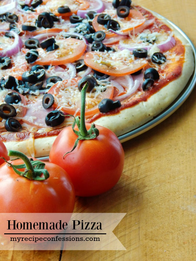 Homemade Pizza. Your kitchen is going to smell amazing with this pizza in the oven! Forget all the other pizza recipes you have found, this is the one and only recipe you need. I could just eat the crust dipped in the homemade pizza sauce and be perfectly happy! So you can imagine how amazing this pizza is loaded with all the toppings. Don't miss out, put all your other dinner recipes aside and make this pizza tonight!