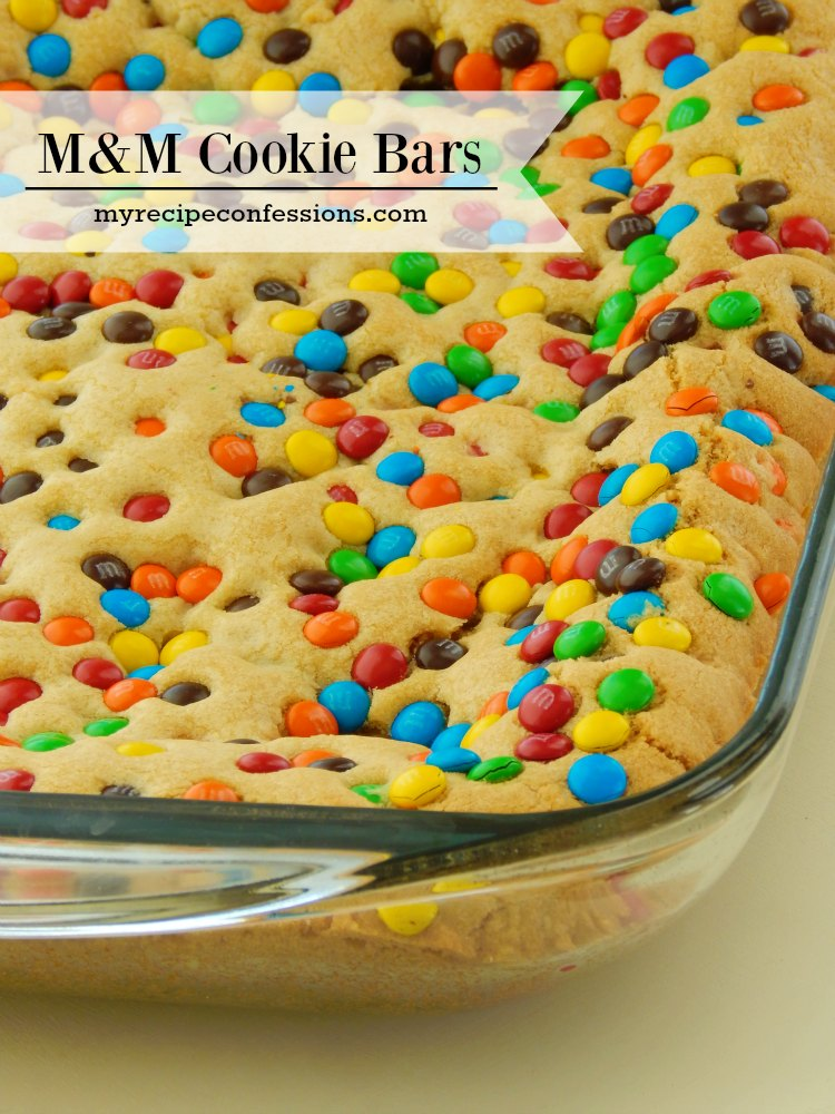 M&M Cookie Bars. These cookie bars are soft and chewy and packed with chocolate goodness! I love easy desserts and this one is a home run. I tried many recipes for cookie bars and they were either too dry or flavorless. So I was ecstatic when I came across this one! I might even eat them for breakfast.