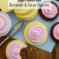 Sugar cookies with Raspberry and Cream Frosting