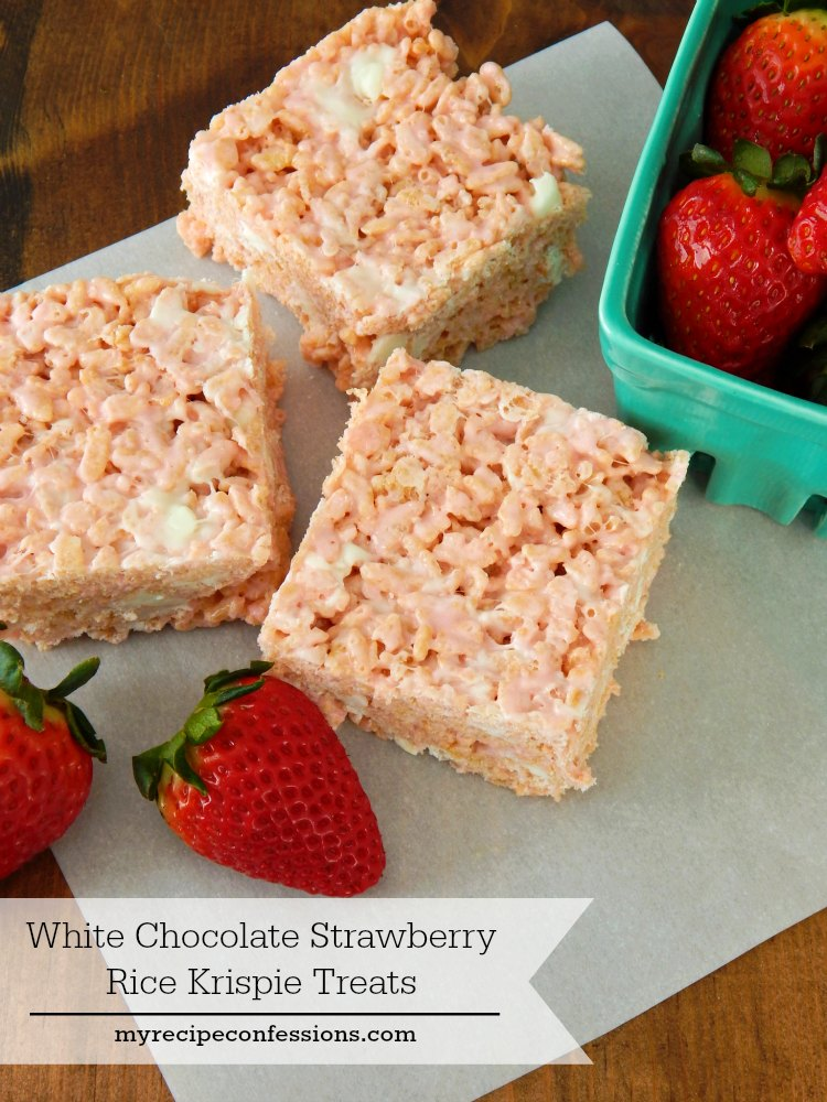 White Chocolate Rice Krispie Treats are the best ever! These are the very definition of easy desserts! You can make these rice krispie treats and have your kitchen cleaned up in under 30 minutes. They are so soft and fluffy it is hard to eat just one.