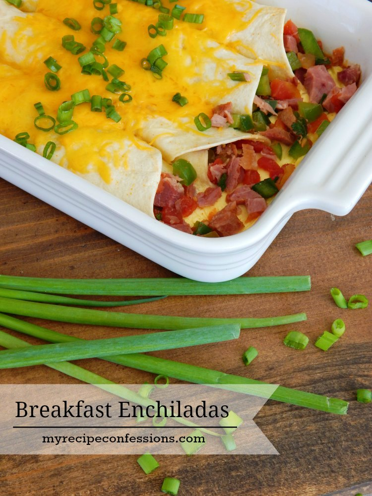 Breakfast Enchiladas. My kitchen smelled amazing when this dish was baking. My family loves to eat breakfast for dinner and this recipe was a huge hit! I have tried similar recipes and none of them measure up to this one! It would be a dish to serve at a brunch or even on Easter or Christmas morning.
