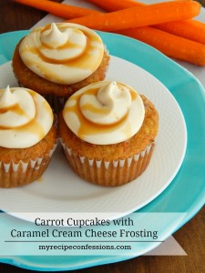 Carrot Cake Cupcakes with Caramel Cream Cheese Frosting. The time you spend in the kitchen making these cupcakes is time well spent! Don't mess around with other recipes, this is the only one you need! You will want to eat them for breakfast lunch and dinner! The Caramel Cream Cheese Frosting is out of this world amazing!