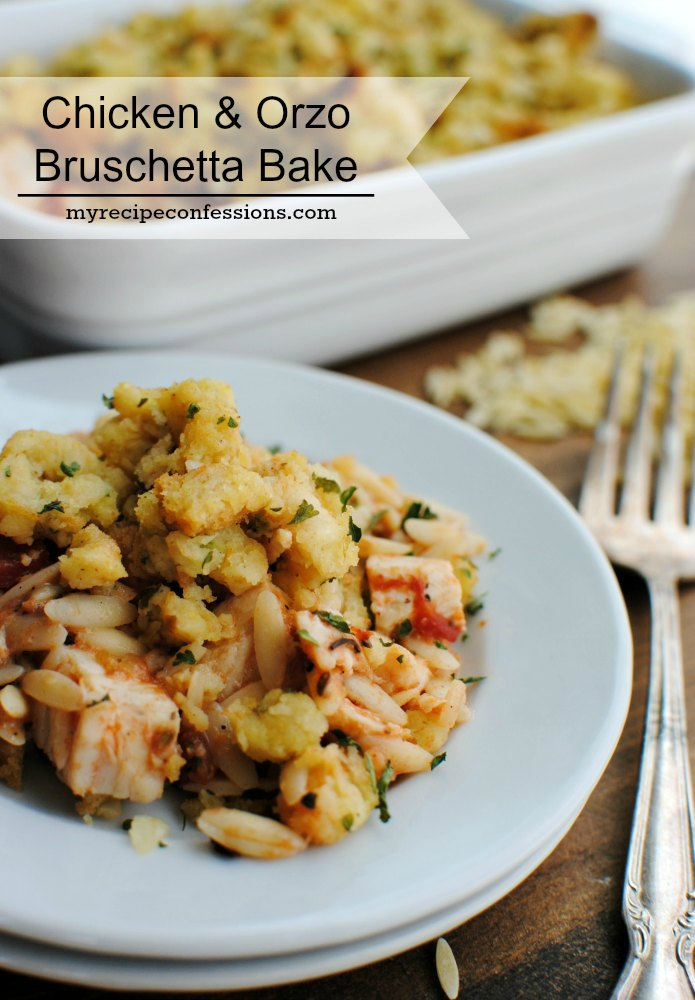 Chicken & Orzo Bruschetta Bake. I love that I don't have to spend all evening in the kitchen when I make this recipe. My kids always love chicken recipes, and this one is one of their favorites! I use rotisserie chicken, so it is super quick and easy to make. Trust me, you need to add this to your dinner recipes, because it is a recipe you will want to make over and over!