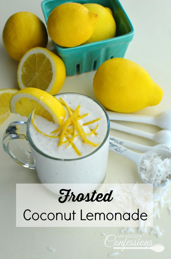 Frosted Coconut Lemonade cool and creamy texture is so refreshing! You only need 3 ingredients to make this amazing drink. It is so yummy you are going to want to make it every day!