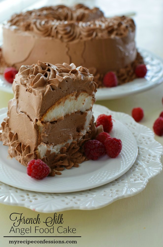 French Silk Angel Food Cake. This is one of the best cakes you will ever make in your kitchen. It tastes like you are eating a light and fluffy chocolate cloud. It is super easy to make too! The other recipes don't even come close to this one. I always get asked for the recipe.