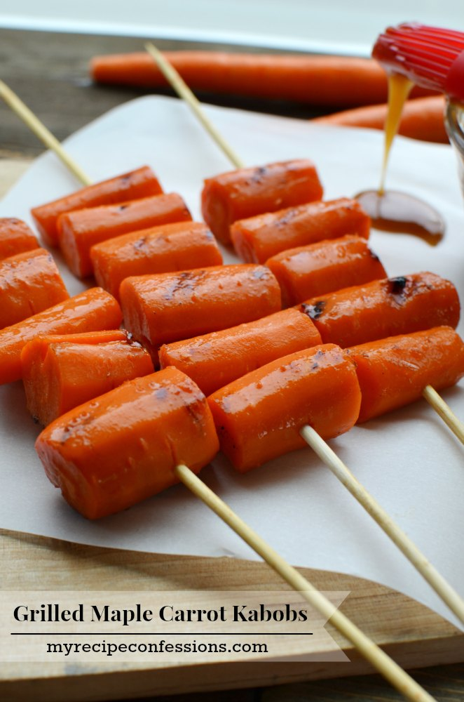 Grilled Maple Carrot Kabobs-Summer grilling just got even better with this recipe! I could eat them like candy they are so amazing. These carrots are so addicting it is hard to not eat them all straight off the grill.