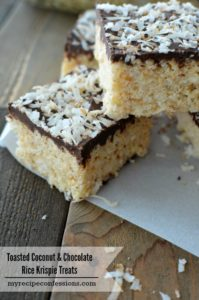 Toasted Coconut & Chocolate Rice Krispie Treats- These are the best rice krispie treats ever! My kids won't stop eating them. I love to make them because they are easy, delicious, and everybody loves them. I always get asked for the recipe and there are never any leftovers.