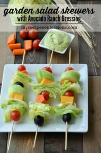 Garden Salad Skewers with Avocado Ranch Dressing-Nobody can resist these yummy salad skewers! Everybody loves food on a stick! These skewers make great appetizers, finger food, or a grab and go side dish. My pickiest eater loves these. The Avocado Ranch Dressing Puts this recipe over the top with its creamy goodness! Trust me, you don't want to miss out on this one!