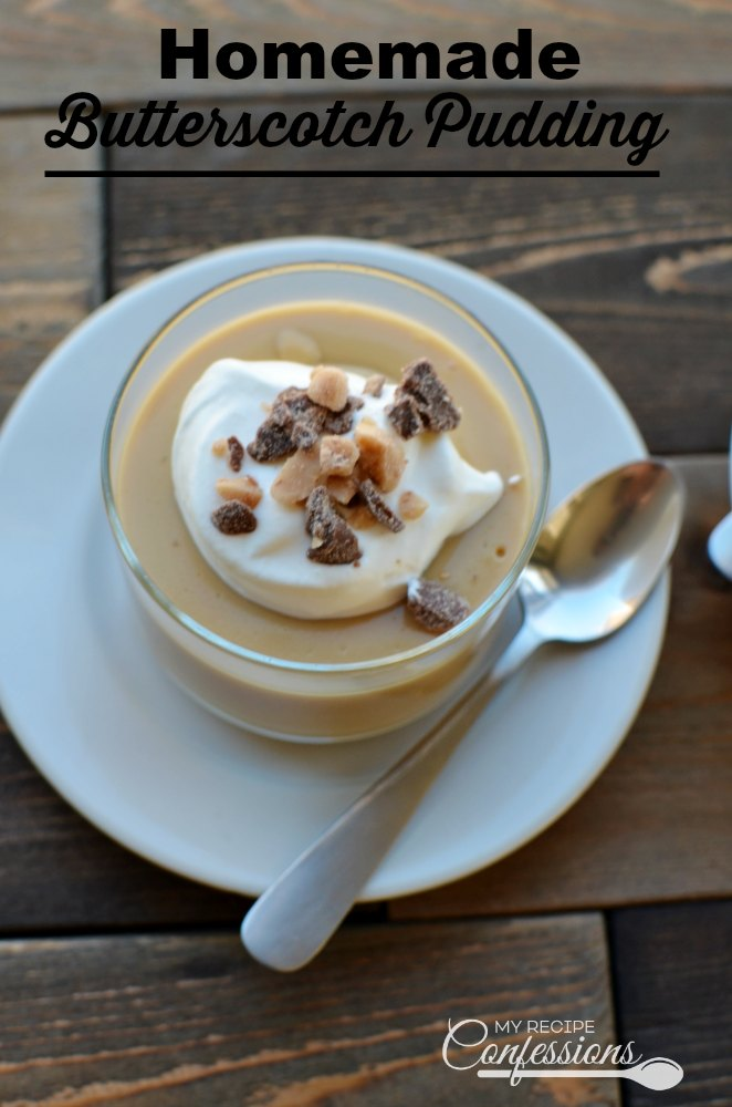 Homemade Butterscotch Pudding. Don't even think about buying a box pudding mix! This pudding recipe will blow any box mix out of the water and it's so easy anybody can make it. Top it with some whipped cream and sprinkle some English Toffee over it and you have the best pudding ever!