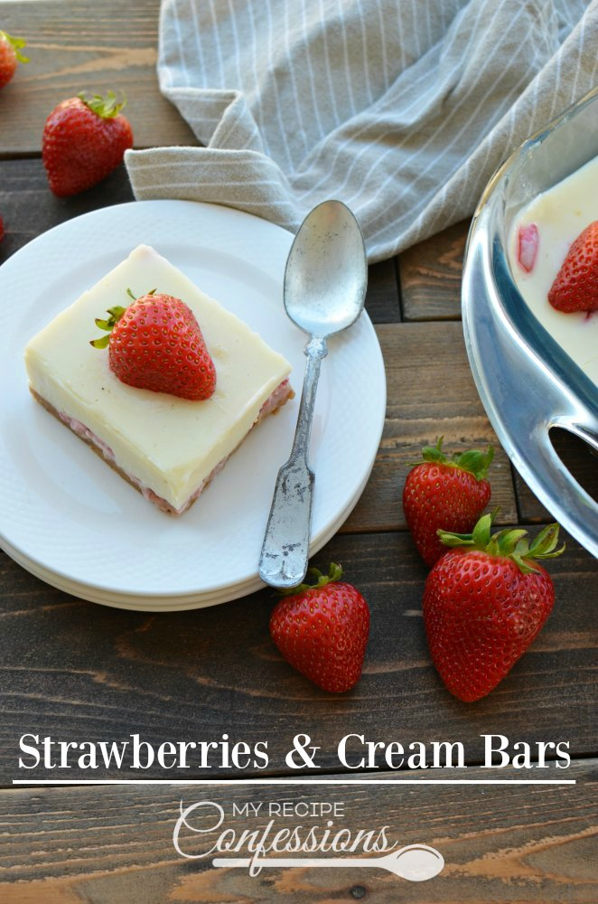 Strawberries & Cream Bars-How can something so good be so easy? Oh, believe me, it is possible with this amazing dessert recipe. Graham cracker crust, juicy strawberries, and a smooth and creamy filling. And you can make it all in under 30 minutes. They will make the perfect treat for your next party!