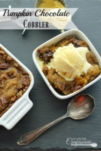Pumpkin Chocolate Cobbler is a moist cobbler with a rich chocolate caramel sauce. It is an easy pumpkin dessert that everybody will love! This recipe is a keeper for sure!