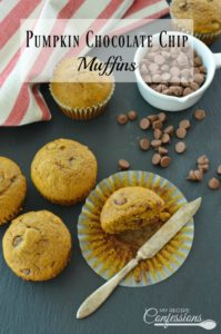 Pumpkin Chocolate Chip Muffins are the best! They are super moist and fluffy. I can't get over the amazing pumpkin and chocolate flavor. They are very easy to make which makes them even better!