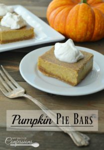 Pumpkin Pie Bars are the absolute best! The graham cracker crust is amazing with the velvety smooth pumpkin filling. I love how simple and easy these bars are to make. I always get asked for the recipe when ever I make them.