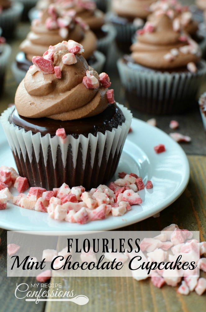 Flourless Mint Chocolate Cupcakes are moist,fluffy, and honestly the best! The mint chocolate ganache and chocolate mousse frosting makes these cupcakes irresistible. The fact that they are gluten-free will surprise you. These fool-proof cupcakes are my families favorite dessert.