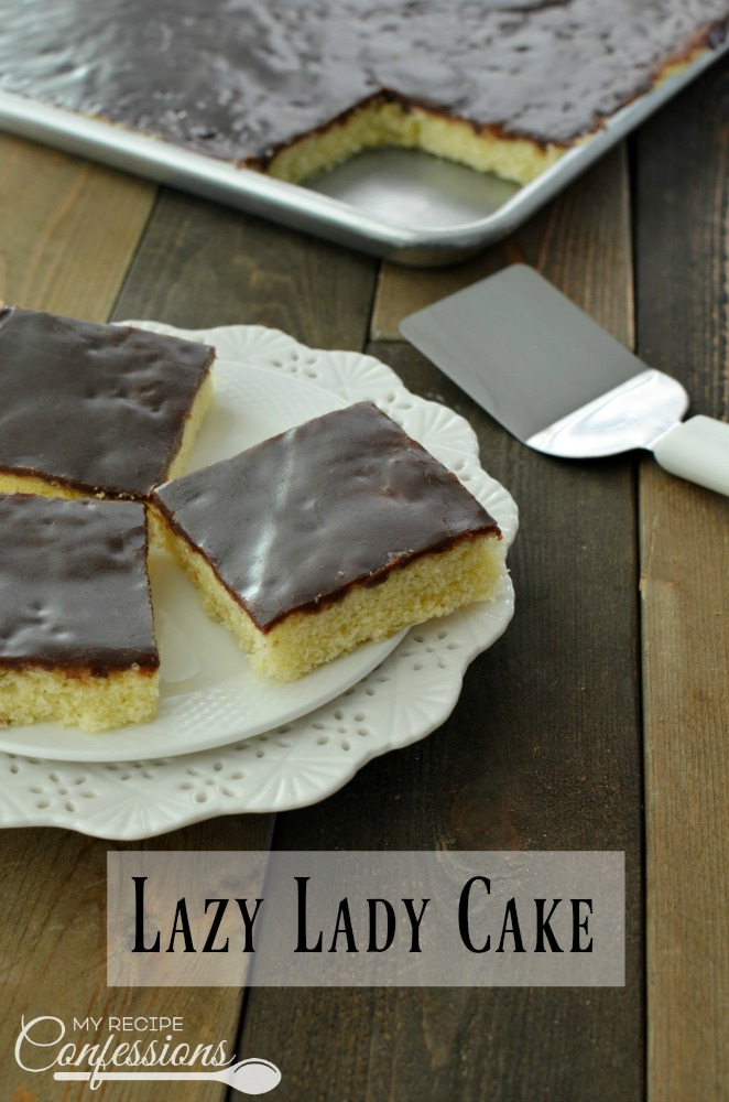 Lazy Lady Cake(AKA Vanilla Texas Sheet Cake) is an easy recipe that everybody loves. My Grandma made this cake all the time. The cake is a soft and fluffy sponge cake with a fudgy chocolate frosting. This amazing cake is baked in a large pan, which means it is perfect for parties.