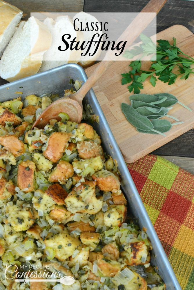 Classic Stuffing is my go-to stuffing recipe. It's the best recipe I have found and I love how simple it is to make. This stuffing is the traditional Thanksgiving stuffing that we all know and love. It is moist, but not soggy, and loaded with flavor.