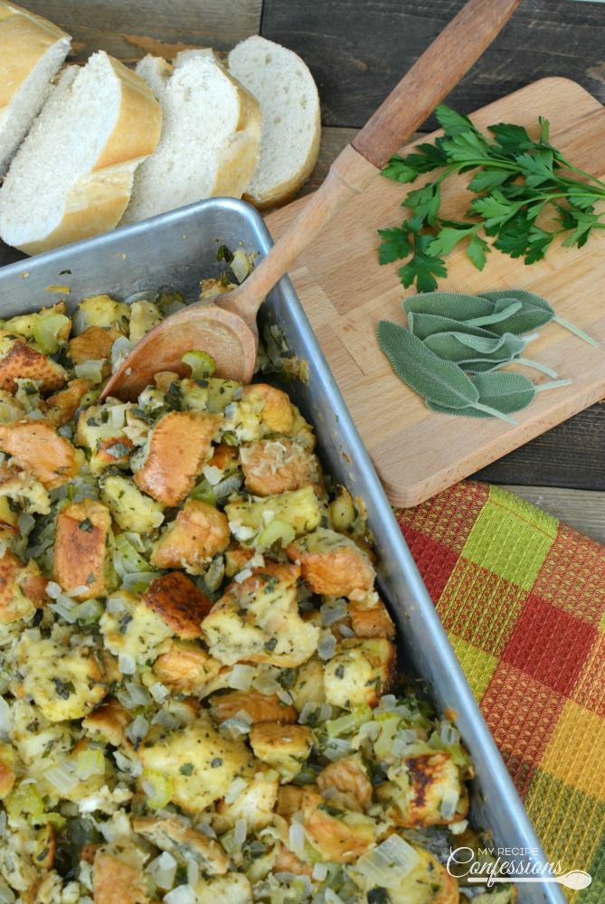 Classic Thanksgiving Stuffing is my go-to stuffing recipe. It's the best recipe I have found and I love how easy it is to make. This stuffing is the traditional Thanksgiving stuffing that we all know and love. It is moist, but not soggy, and loaded with flavor.