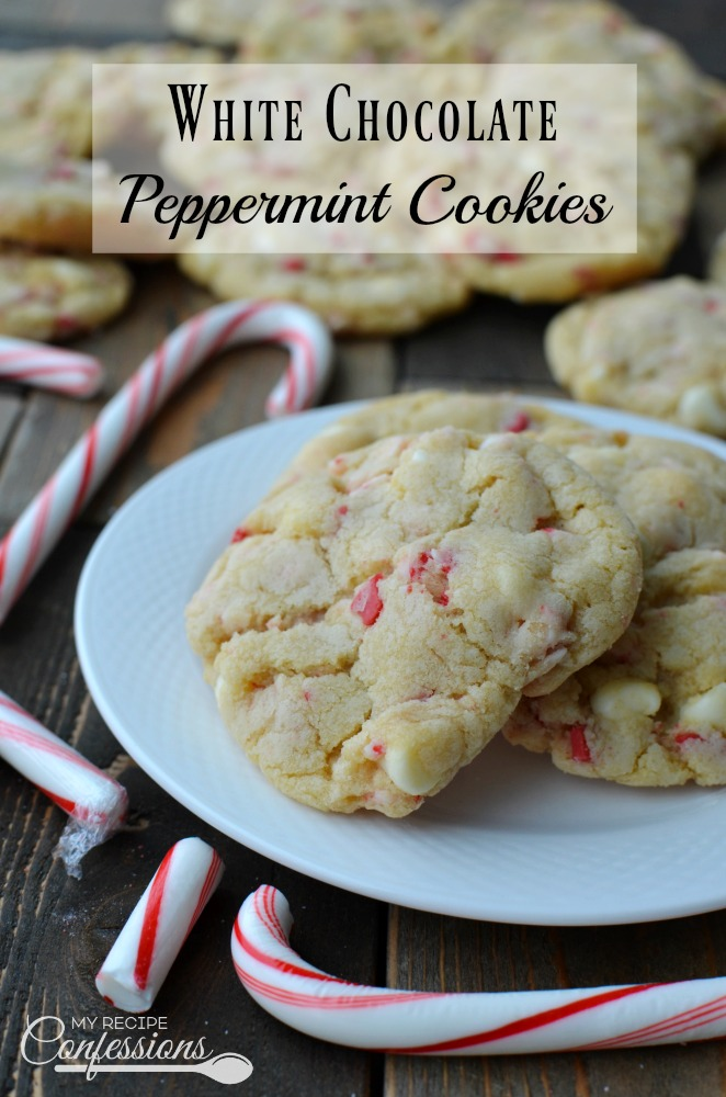 White Chocolate Peppermint Cookies are easy and delicious! They are soft and chewy with the perfect kick of peppermint. The white chocolate chips are the perfect compliment to the peppermint. These cookies make a great dessert for your family or a Christmas cookie exchange party.