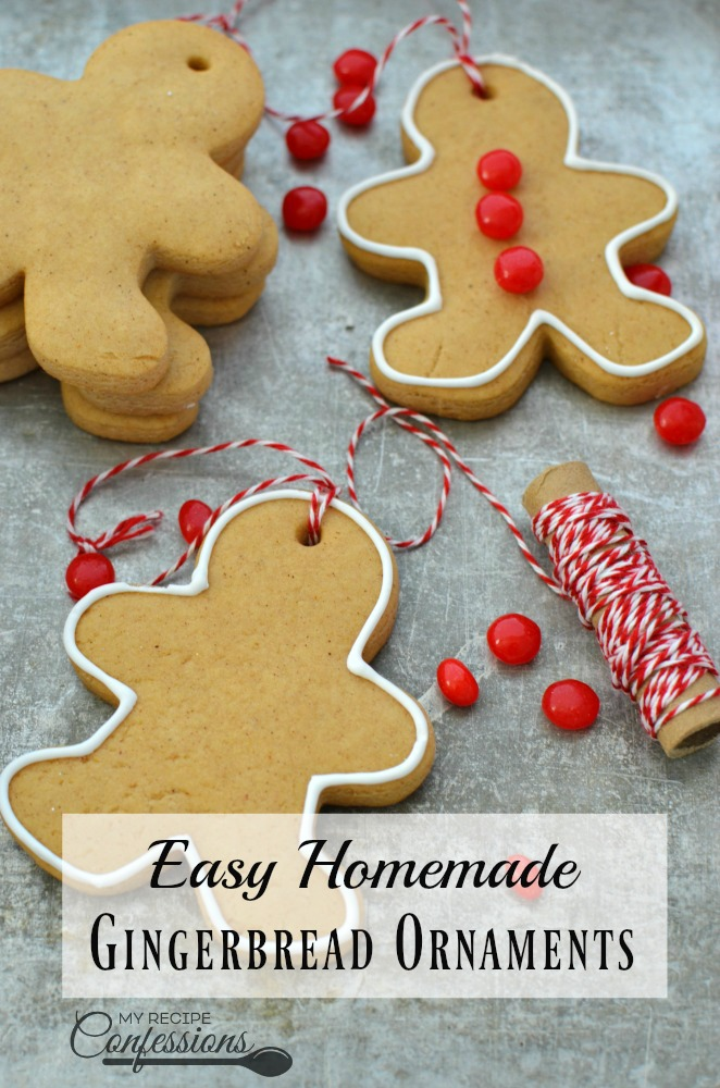 Easy Homemade Gingerbread Ornaments are quick, and easy alternative to making a gingerbread house. My kids love to make these ornaments and hang them on the tree. If you are like me and love to make DIY gingerbread house from scratch, this is a great recipe for that too. These ornaments smell so good and make the perfect Christmas family tradition! data-pin-description=