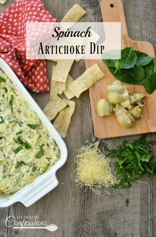 Spinach Artichoke Dip is the best dip ever! This recipe is so easy and it tastes just as good as Applebee's dip. This creamy cheesy dip is always a big hit! Serve it with crackers or tortilla chips for an unforgettable appetizer.
