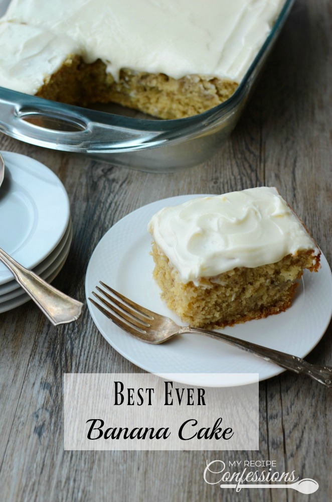 Best Ever Banana Cake is a light and fluffy cake with a scrumptious cream cheese frosting. You will not find a better recipe! It is super easy to make and so moist. This cake is a family favorite that is perfect for any occasion!