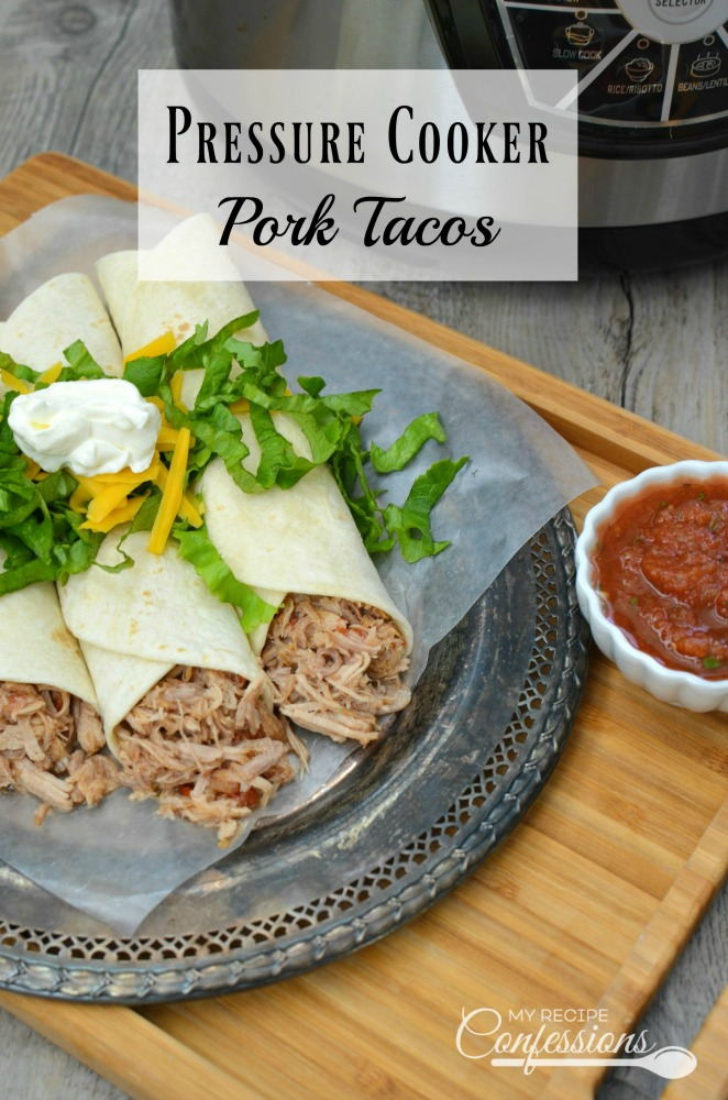 Pressure Cooker Pork Tacos are tender and dripping in flavor! I was floored at how fast this meat cooks in the pressure cooker. It took less than 2 hours to cook from start to finish. In the oven or crockpot, it would take 4 to 6 hours to get the meat this tender! You have to try this recipe, it is amazing!
